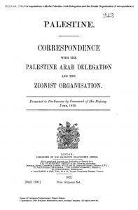 The British White Papers of the Mandatory Palestine (1)